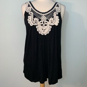 August Silk flowy crotchet detail tank